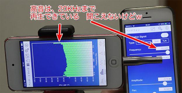 Creative Stage V2の高音テスト 20KHzまで再生できている