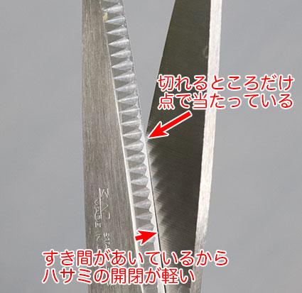 キッチンバサミは、切刃同士の接触が点で当たる調整が 支点を外すために安定しない