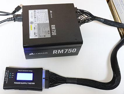 ATX電源 コルセア RM750 にATX電源テスターをつける