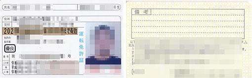 運転免許証の表と裏の画像データ