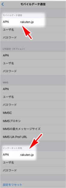 iPhone 楽天モバイル テザリング インターネット共有  APN 設定