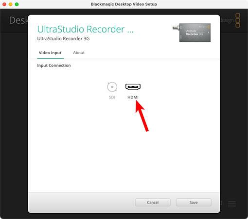 BlackMagic Design Desktop Video 設定 UltraStudio Recorder 3Gの入力切り替え