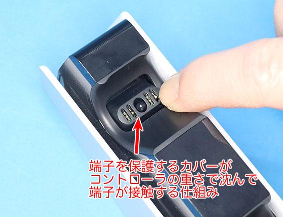 DualSense充電スタンドの充電端子は、保護カバーが沈んで端子が露出する仕組み