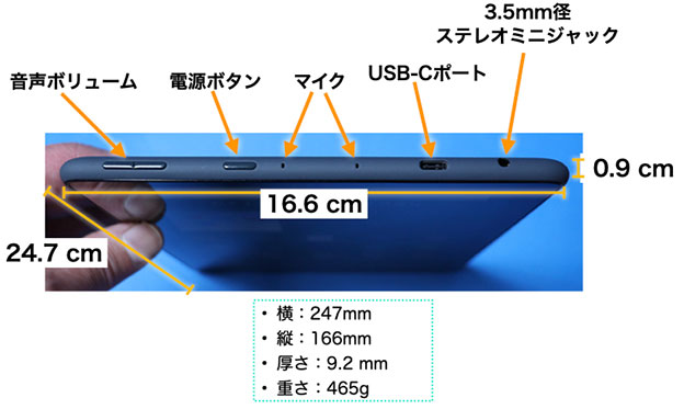 Fire HD 10 Plus 2021年 右サイド ポートとボタン類