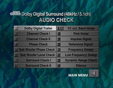 AUDIO CHECK DVD Dolby Digital Surround メニュー