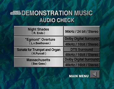 AUDIO CHECK DVD DEMONSTRATION MENU