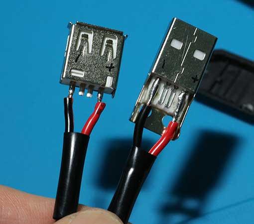 USBプラグ、USBジャックにDCケーブルをハンダづけする