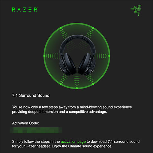 Razer 7.1 Surround Sound アプリケーション