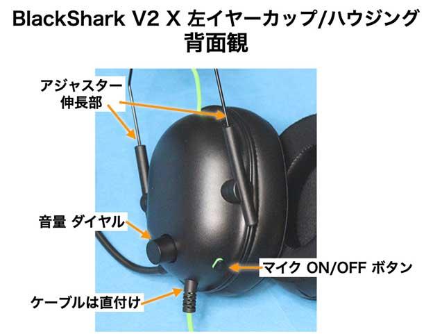 BlackShark V2 X 左ハウジングのボタンとダイヤル