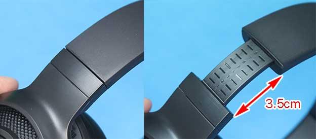 Kraken V3 X のヘッドバンド部 伸張機構 伸び縮み