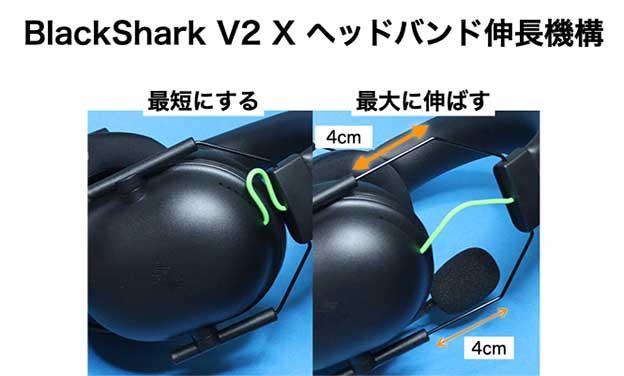 Razer BlackShark V2 X ヘッドバンドの伸長機構は、針金