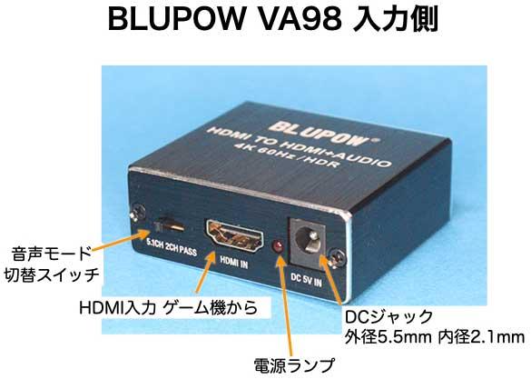HDMI TO HDMI + AUDIO 4K 60Hz HDR BLUPOW VA98 入力側