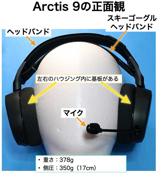 SteelSereis Arctis 9 正面観