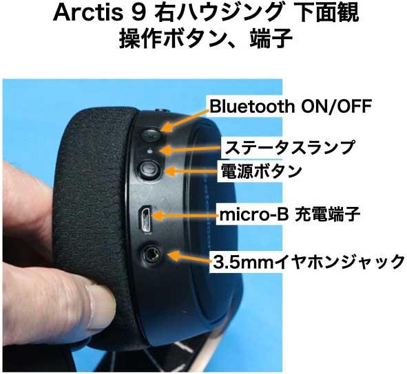 Arctis 9 右ハウジング 底面 ポート類