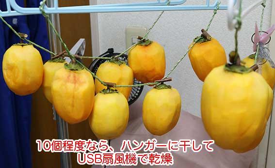 10個くらいの干し柿作りには、ハンガーとUSB扇風機でやる